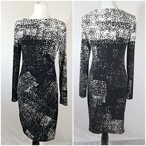 American Living Black/Cream Rousched Dress 10